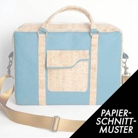 Gedrucktes Schnittmuster für: Notebooktasche aus Korkstoff und SnapPap im Makerist Materialshop