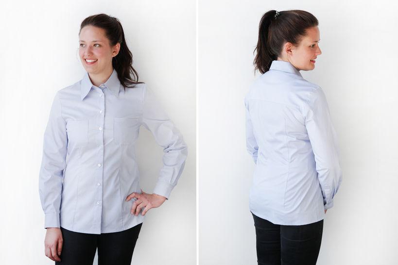 Gedrucktes Schnittmuster für: Klassische Hemdbluse Größe 36 - 46 im Makerist Materialshop - Bild 1