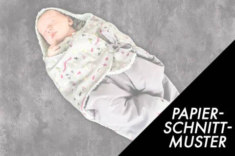 Gedrucktes Schnittmuster für: Baby Einschlagdecke – Einschlaganzug im Makerist Materialshop