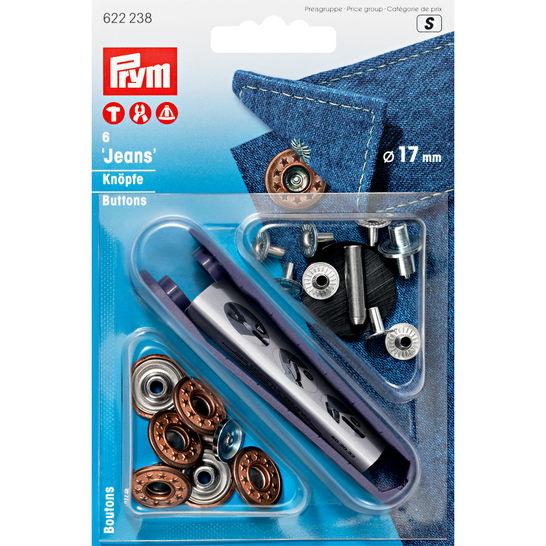 NF-Jeansknopf Sterne - offen 17 mm - altbronze - 6 St mit Werkzeug im Makerist Materialshop - Bild 1