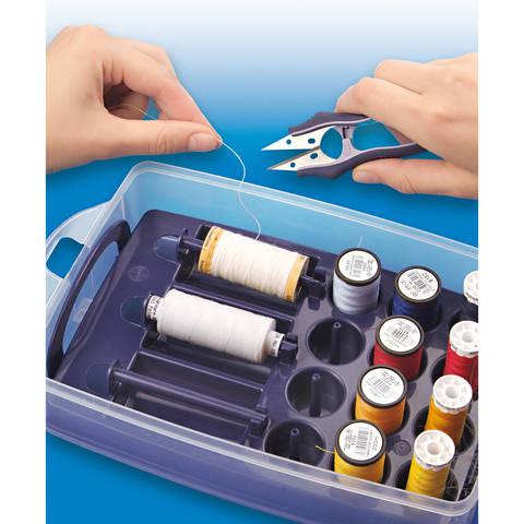 Click Box mit Sortiereinsatz für Nähgarne ca. 24x16,5x8 cm transparent/pflaumenblau im Makerist Materialshop