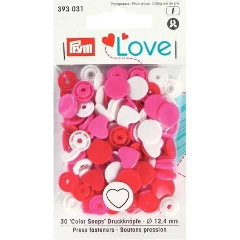 Prym Love Druckknopf Color Herz 12,4 mm rot/weiß/pink im Makerist Materialshop