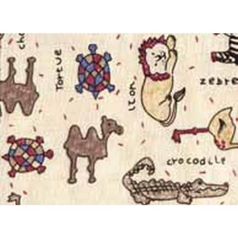 Flickstoff CO (bügeln) 12 x 45 cm beige/bunt Tiere im Makerist Materialshop