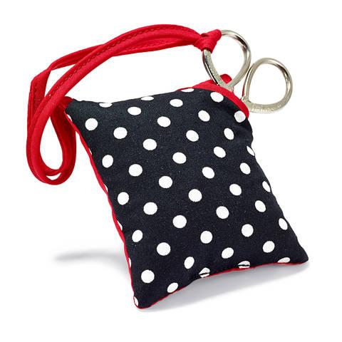 Nadelkissen und Schere PolkaDots schwarz/weiß im Makerist Materialshop