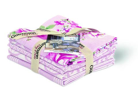 Fat Quarter Bundles von Gütermann creativ: Long Island - col.1 rosa/weiß im Makerist Materialshop
