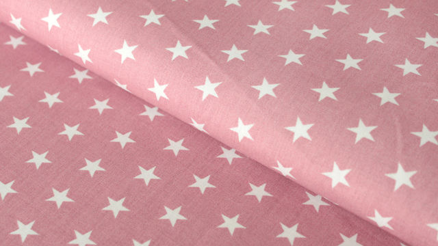 Baumwollstoff altrosa-weiß bedruckt: Stars - 150 cm im Makerist Materialshop - Bild 1