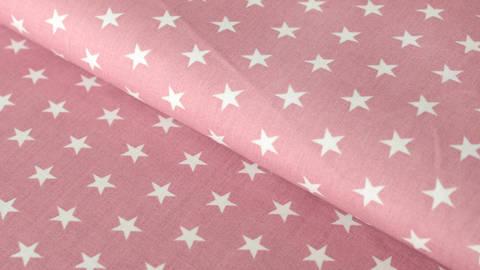 Baumwollstoff altrosa-weiß bedruckt: Stars - 150 cm im Makerist Materialshop