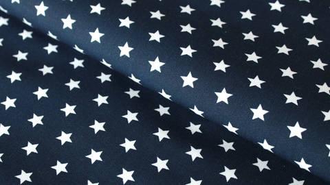 Coton bleu marine imprimé : étoiles blanches - 150 cm dans la mercerie Makerist
