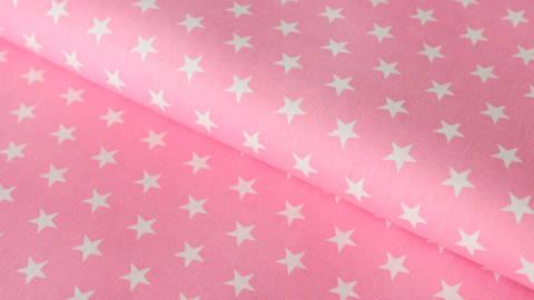 Rosa-weiß bedruckter Baumwollstoff: Stars - 150 cm im Makerist Materialshop
