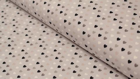 Jerseystoff hellgrau bedruckt: Avalana Herzen - 162 cm im Makerist Materialshop