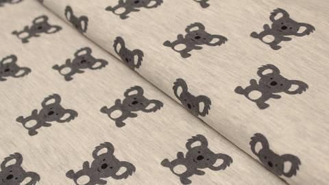 B-Ware Sweatstoff grau meliert: Avalana Koala - 150 cm im Makerist Materialshop