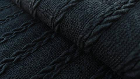 Schwarzer Uni Strickstoff: Kabel - 160 cm im Makerist Materialshop