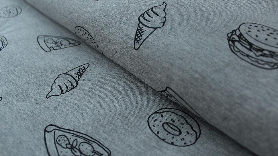 Grauer Baumwolljersey: French Terry Fast Food - 155 cm im Makerist Materialshop - Bild 1