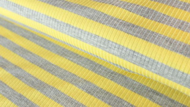 Gelb-grauer Ripp-Viskosjersey: Streifen - 145 cm im Makerist Materialshop - Bild 1