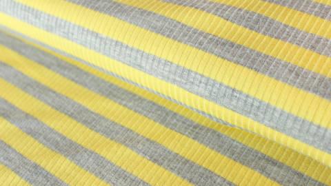 Gelb-grauer Ripp-Viskosjersey: Streifen - 145 cm im Makerist Materialshop