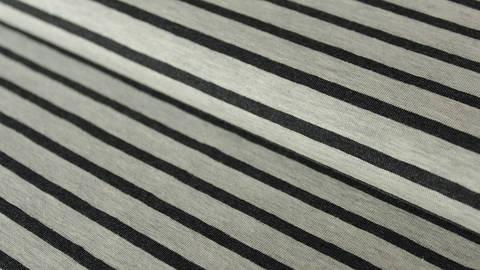 Ecru-anthrazitfarben melierter Baumwolljersey: Yarn dyed Stripes - 150 cm im Makerist Materialshop