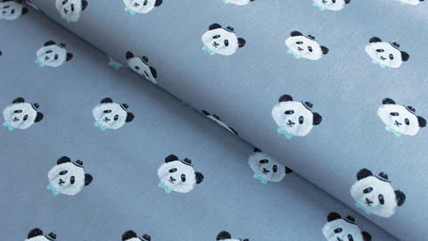Grauer Baumwollstoff: Panda - 150 cm im Makerist Materialshop