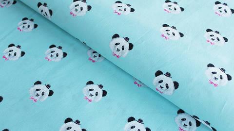 Hellblauer Baumwollstoff: Panda - 150 cm im Makerist Materialshop