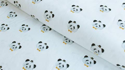 Weißer Baumwollstoff: Panda - 150 cm im Makerist Materialshop