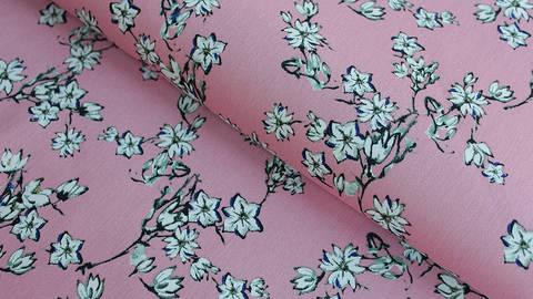 Baumwoll-Satin rosa: Kirschblüten - 145 cm im Makerist Materialshop