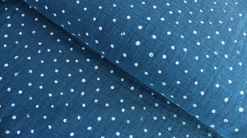 Musselin Baumwollstoff blau-weiß: Little Dots - 132 cm im Makerist Materialshop