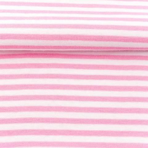 Ringelbündchen rosa-weiß im Makerist Materialshop