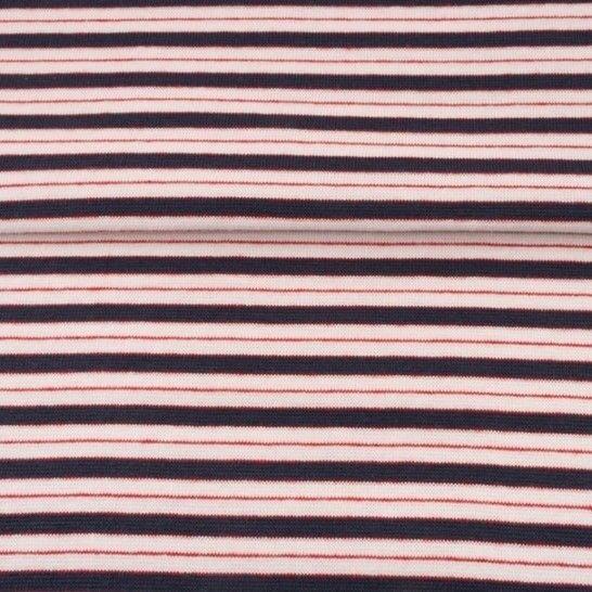 Dunkelblau rosafarbenes Bündchen: Streifen - 70 cm im Makerist Materialshop - Bild 1
