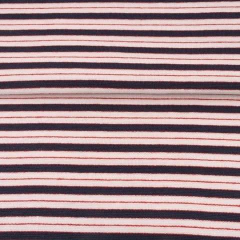 Dunkelblau rosafarbenes Bündchen: Streifen - 70 cm im Makerist Materialshop