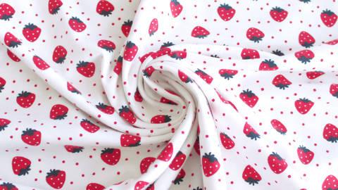 Jersey coton imprimé fraises sur fond blanc Avalana - 162 cm dans la mercerie Makerist