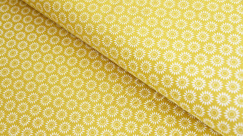 Baumwollstoff senf: Sonnenblumen - 140 cm im Makerist Materialshop