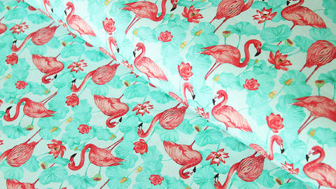 Baumwolljersey mint: Flamingos - 150 cm im Makerist Materialshop