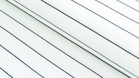 Navy-weißer Cotelé Jersey: Dünne Streifen - 145 cm im Makerist Materialshop