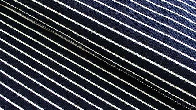 Navy-weißer Cotelé Jersey: Streifen - 145 cm im Makerist Materialshop - Bild 1