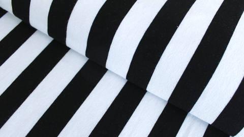 Schwarz-weißer Viskosejersey breite Streifen: St. Tropez - 158 cm im Makerist Materialshop