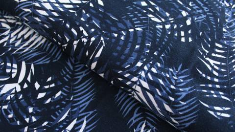 Baumwolljersey dunkelblau bedruckt: Avalana Palmen - 162 cm im Makerist Materialshop