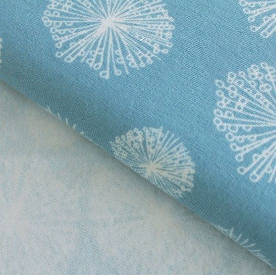 Sweatstoff rauchblau: Avalana Pusteblumen - 160 cm im Makerist Materialshop - Bild 1