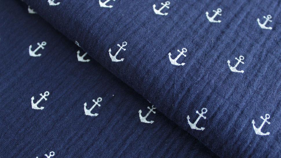 Mousseline de coton double gaze bleu marine: ancres - 132cm dans la mercerie Makerist - Image 1