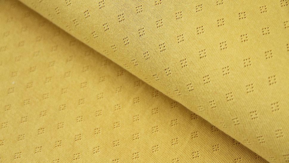 Baumwoll-Strickstoff gelb: Pointoille - 140 cm im Makerist Materialshop - Bild 1