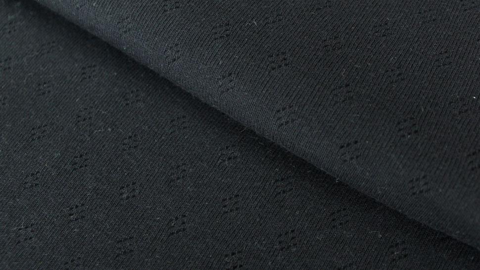 Baumwoll-Strickstoff schwarz: Pointoille - 140 cm im Makerist Materialshop - Bild 1