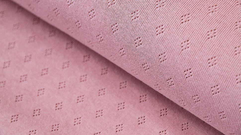 Baumwoll-Strickstoff rosa: Pointoille - 140 cm im Makerist Materialshop - Bild 1