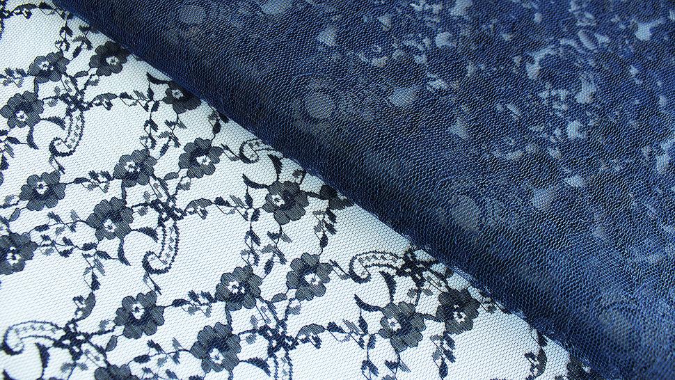 Navyblaue Spitze: Kleine Blume - 150 cm im Makerist Materialshop - Bild 1