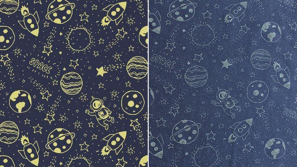 Jersey de coton bleu marine : virée dans l'espace - 150 cm dans la mercerie Makerist - Image 1