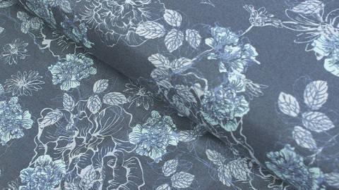 Dunkelblau bedruckter Jersey: Avalana Blumen - 160 cm im Makerist Materialshop