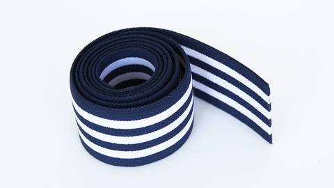 Elastisches Streifenband - blau-weiß - 4 cm  im Makerist Materialshop