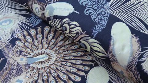 Viskosestoff dunkelblau: Pfauenfeder - 150 cm im Makerist Materialshop