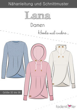 Fadenkäfer Schnittmuster und Nähanleitung gedruckt: Lana Damen-Hoodie im Makerist Materialshop - Bild 1