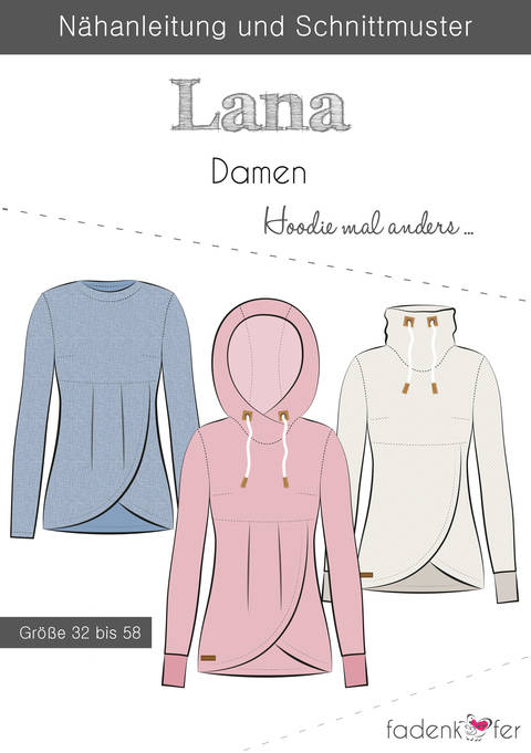 Fadenkäfer Schnittmuster und Nähanleitung gedruckt: Lana Damen-Hoodie im Makerist Materialshop