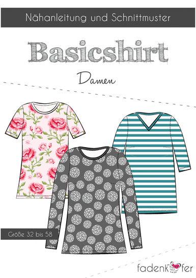 Fadenkäfer Schnittmuster und Nähanleitung gedruckt: Basicshirt Damen im Makerist Materialshop - Bild 1