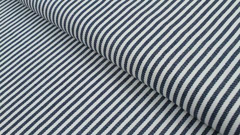 Baumwoll-Jeansstoff blau-weiß: Schmale Streifen - 150 cm im Makerist Materialshop