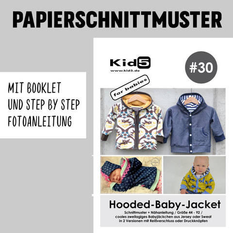Kid5 Schnittmuster und Nähanleitung gedruckt: Hooded-Baby-Jacket im Makerist Materialshop